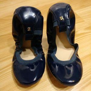 """Yosi Samara """"Samara"""" Flats Oxford Blue Size 7"""